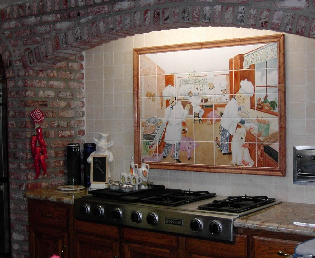 Chef mural of handpainted tile